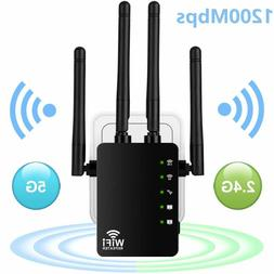 1200Mbps WiFi Extender Range Repeater, Aigital Upgraded Wire