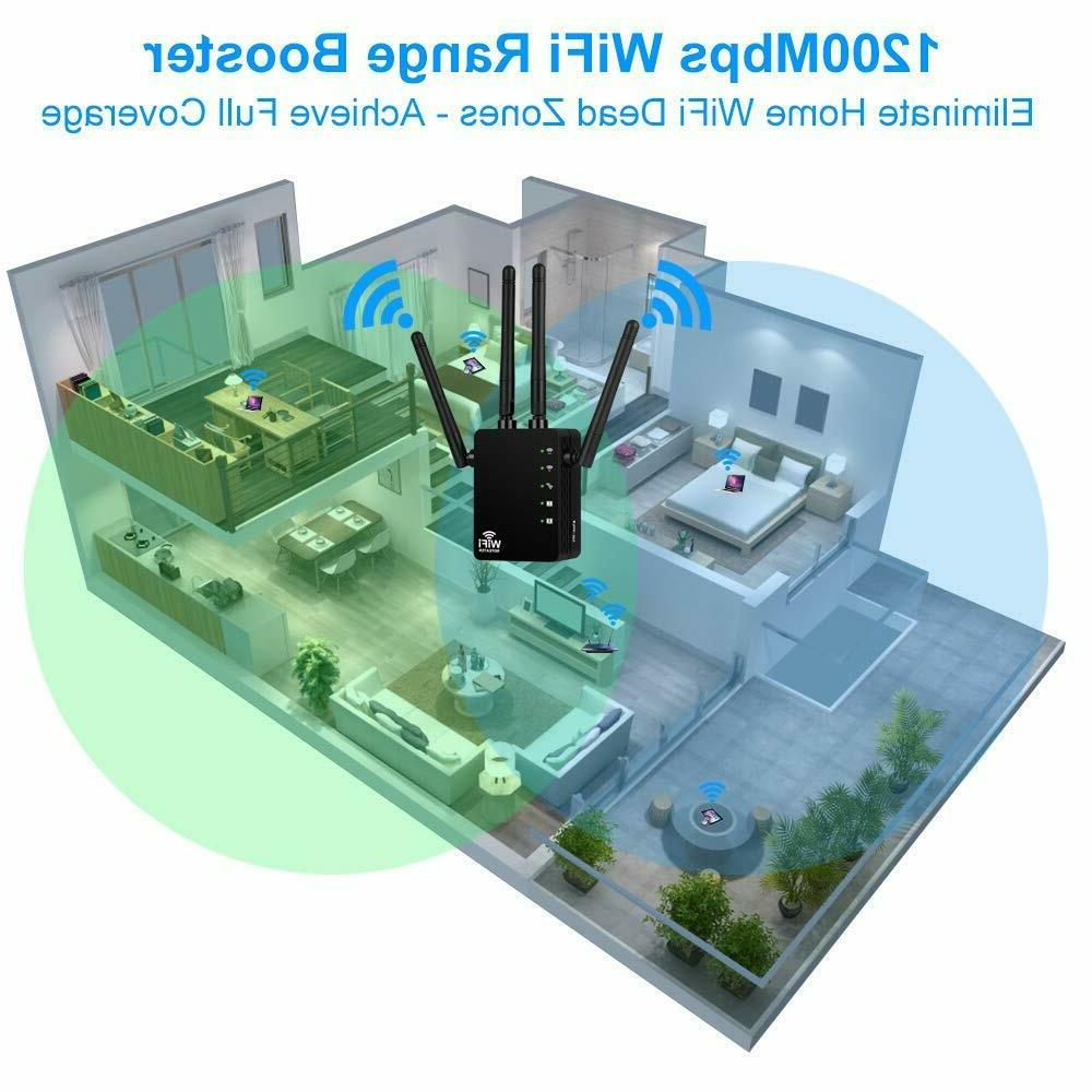 1200Mbps WiFi Extender Repeater, Aigital Internet Booste
