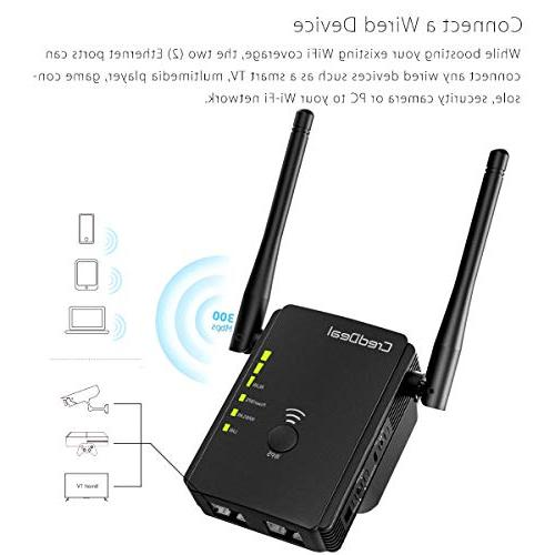 CredDeal 300Mbps WiFi Extender, Internet Booster, Wireless Ethernet Compatible with Alexa, Wi-Fi Design