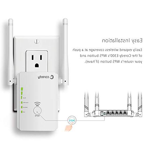 Coredy N300 Range Extender All-New Wireless Repeater Signal Booster Access with High Power Ethernet Antennas, Boosting Whole WiFi