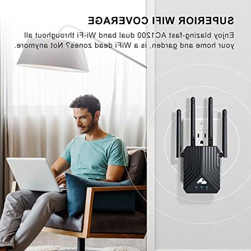 Coredy Extender, AC1200 Booster, Wireless with 4 Extending Home and