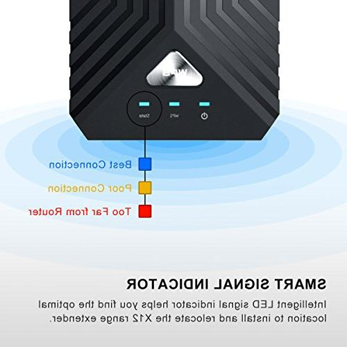 Coredy WiFi AC1200 Dual Band WiFi Repeater, Booster, Wireless with 4 Ethernet Antennas, Extending WiFi to Whole Home and Garden