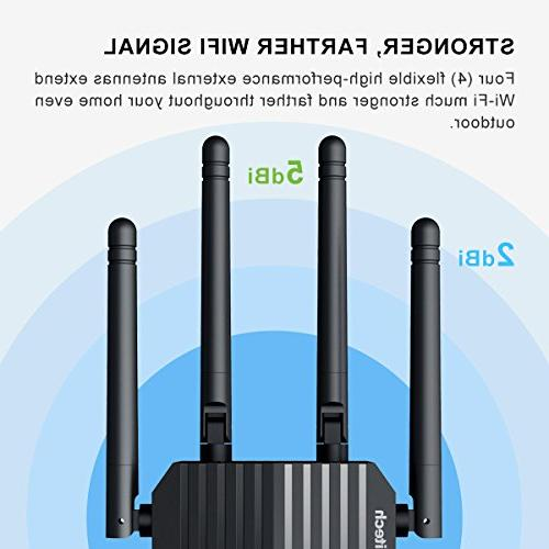Coredy Extender, AC1200 Dual WiFi Repeater, Wi-Fi Booster, Access Extending to Home