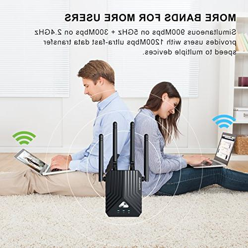Coredy WiFi AC1200 Band Booster, Wireless Access with 4 Ethernet Extending WiFi to Whole Home and