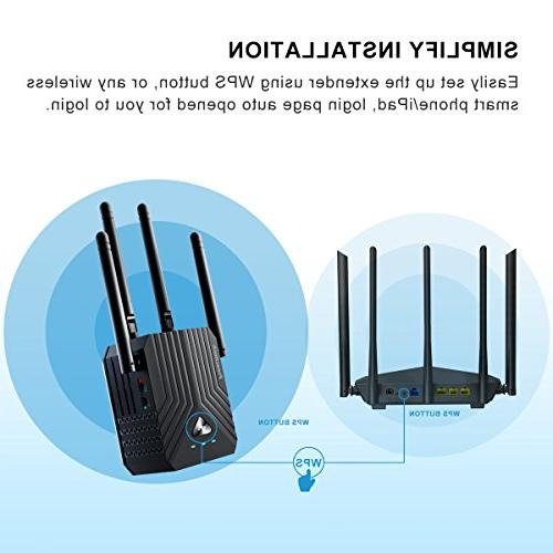 Coredy WiFi AC1200 Booster, with Ethernet Extending to Home and Garden