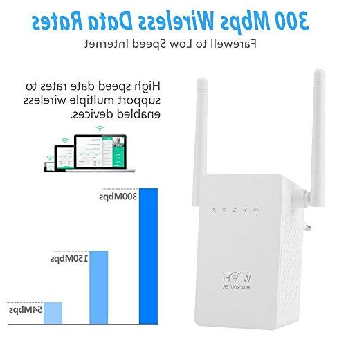 Wifi Repeater, AC300 Range Extender 300Mbps Booster with Ethernet 802.11n/b/g Repeater/Router/AP Mode Long
