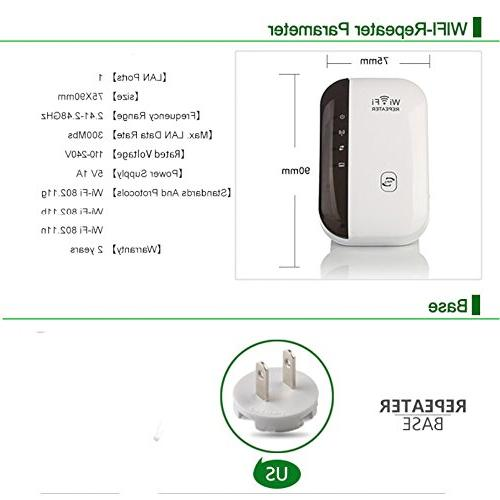 WiFi 300Mbps WiFi to Smart Home Every - with any Wireless Network,Mini 2.4Ghz Portable Range Extender WPS for Router