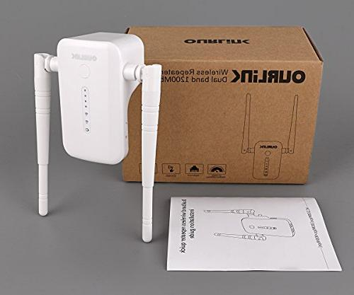 OURLiNK WiFi Router/Extender 1200Mbps Range Extender AP Hotspot Access Point Signal Amplifier with Extends WiFi to Home