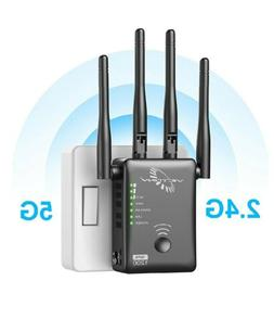 WiFi Range Extender 1200Mbps Dual Band WiFi Repeater with 4